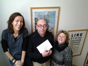 """Money collected at our 3rd Xmas Charity Raffle in 2012 went to """"Le Printemps de l'alpha"""" literacy project organised by the Belgian asbl """"Lire et Ecrire"""""""
