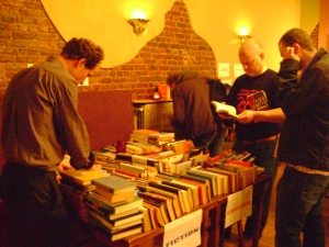 Our very first Bookswap in Boitsfort - We used to huddle round the tables in the downstairs restaurant - now we have access to the first floor where there is plenty of room to browse...
