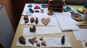 Examples of some extracurricular crafts on offer to the 50 odd children from the Marolles