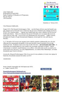 Copy of Club's letter to Alain Schittecatte